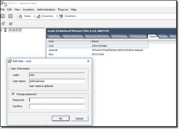 Change the root password via the vSphere client