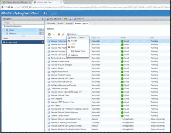 Check service health through the vSphere Web Client