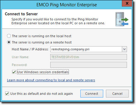 Connecting to a remote Ping Monitor server