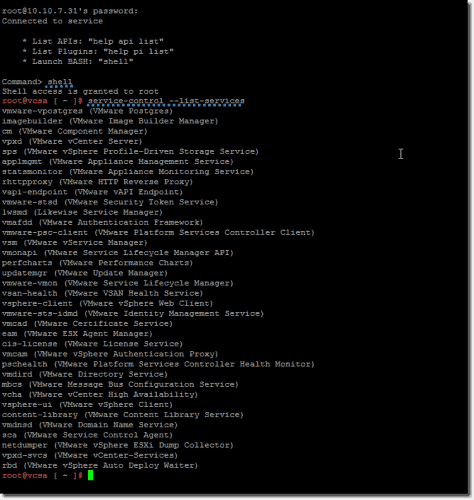 List all the services in a VCSA appliance