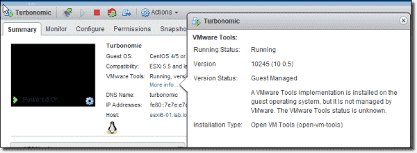 Open VM Tools in the vSphere Web Client
