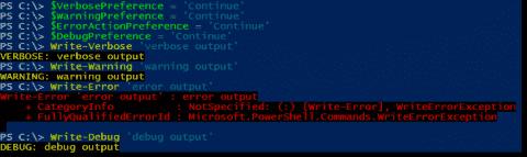PowerShell streams: Write-Host, Write-Output, Write-Verbose, Write-Error