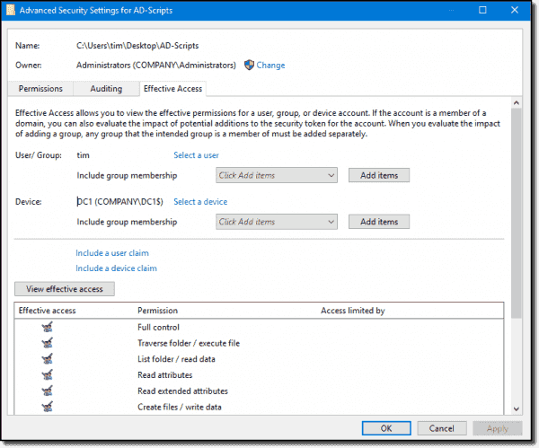 Viewing effective access in Windows Server 2016