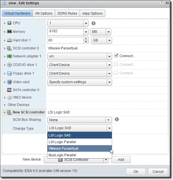 Add a new SCSI controller and change the type to VMware Paravirtual