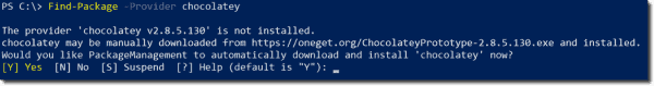 Automatically installing a Package Manager provider