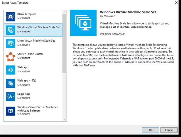 Creating VMSS templates in Visual Studio