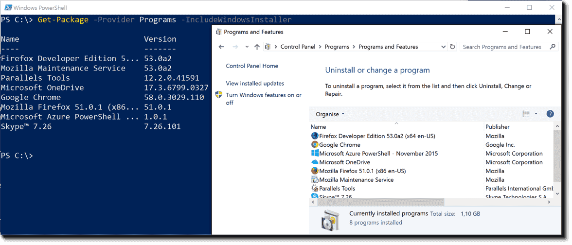 Installing and removing programs with the PowerShell Package
