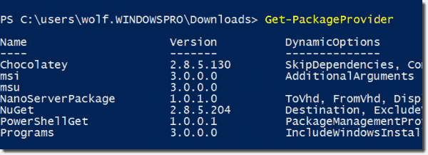 Displaying package providers with Get PackageProvider