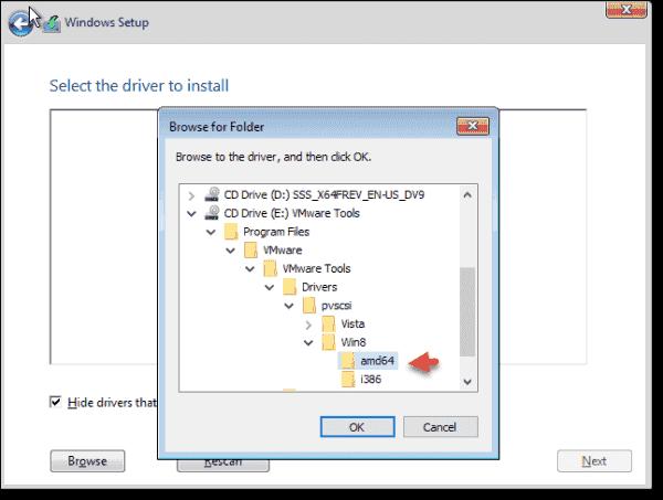Pick a VMware PVSCSI driver