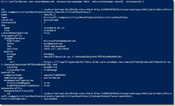 Retrieving VMSS details with PowerShell