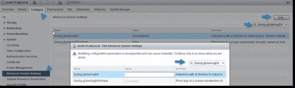 Set the desired datastore for the advanced parameter Syslog.global.logDir