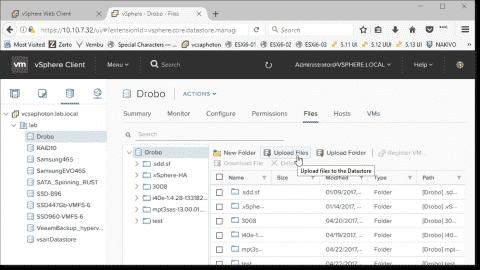Upload files to VMware vSphere datastore
