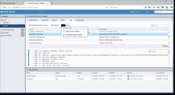 View ESXi logs via HTML5 Host Client
