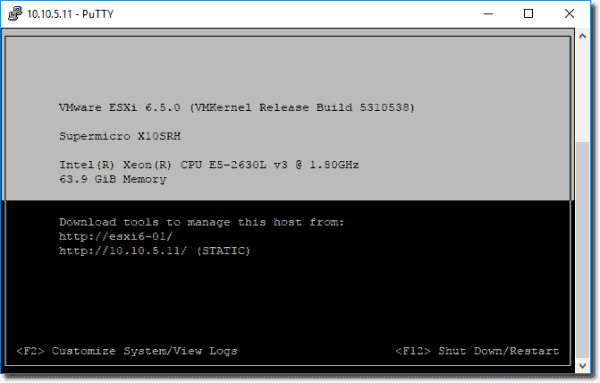 View ESXi logs within a PuTTY session