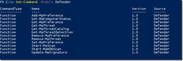 Windows Defender PowerShell cmdlets