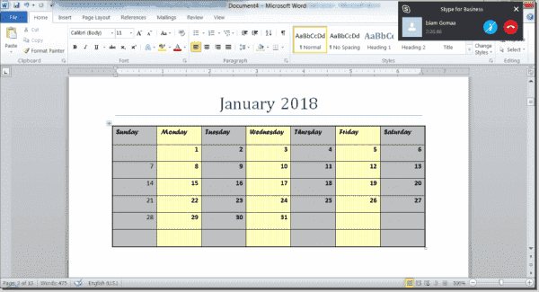 Word document calendar page created by PowerShell