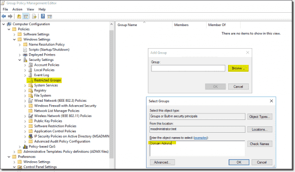Adding the group you want to manage with Group Policy