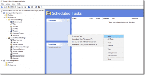 Run PowerShell scripts as Immediate Scheduled Tasks with Group Policy