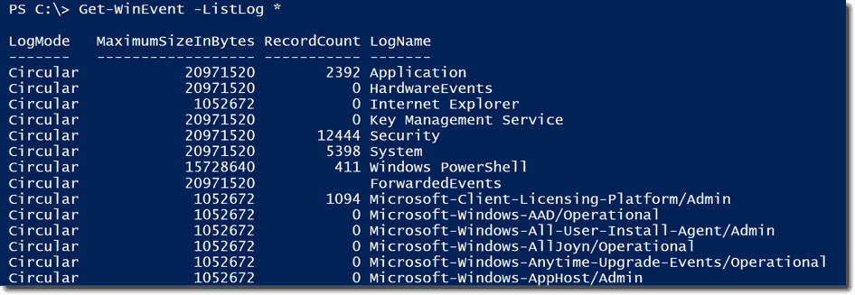 Search the event log with the Get-WinEvent PowerShell cmdlet