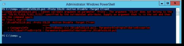 Validating a parameter fails