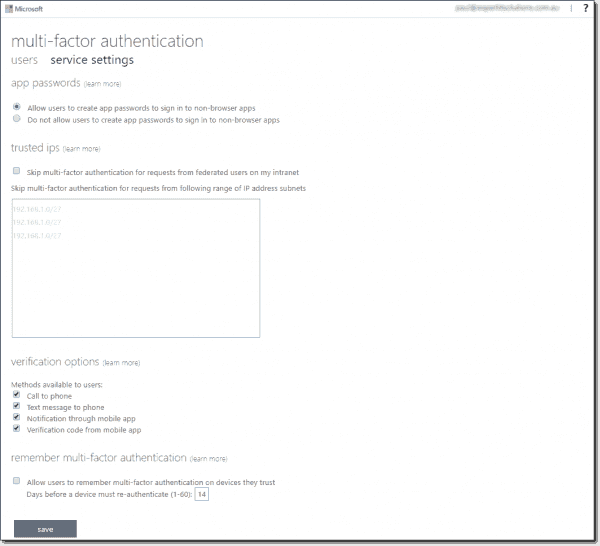 AAD settings for MFA for Office 365