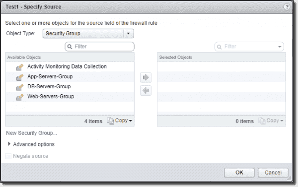 Adding a NSX security group to a Distributed Firewall object