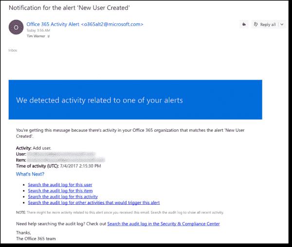 An alert email message