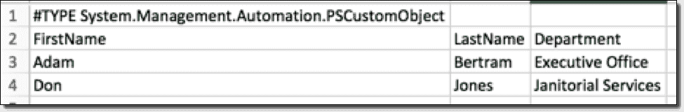 CSV file with type information