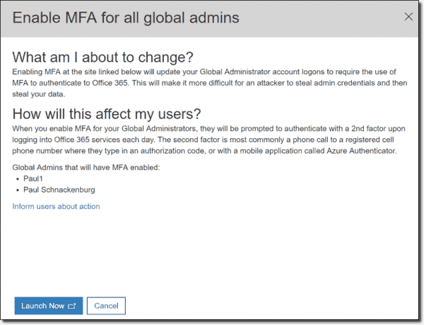 Enable MFA for all global admins