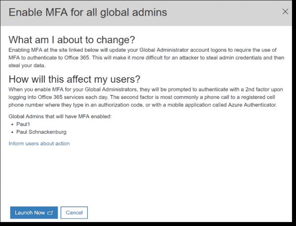 Enable MFA for all global admins