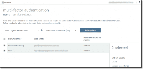 Enable MFA for all global admins in AAD