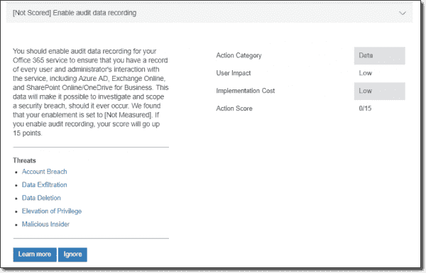 Enable audit data recording
