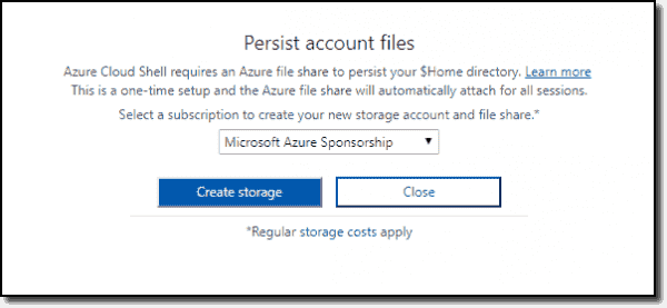 Prompt to create storage for Cloud Shell