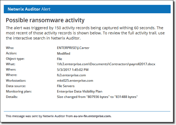 Ransomware alert