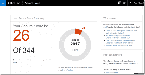 Secure Score main dashboard