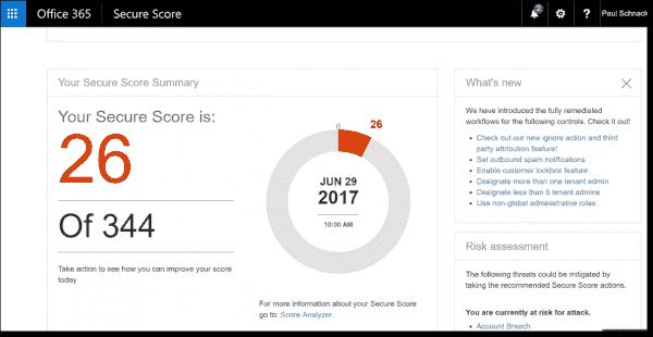 Secure Score main dashboard