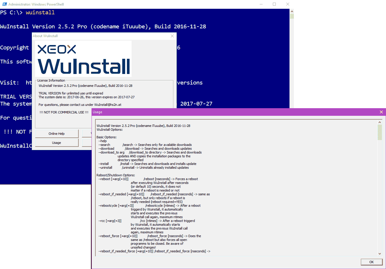 Viewing WUInstall command syntax
