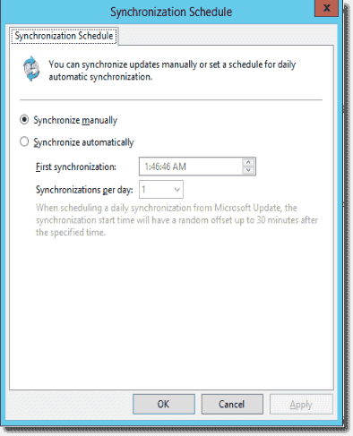 WSUS synchronization options