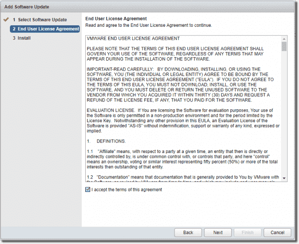 Accept the license agreement for the vROps 6.6 OS upgrade