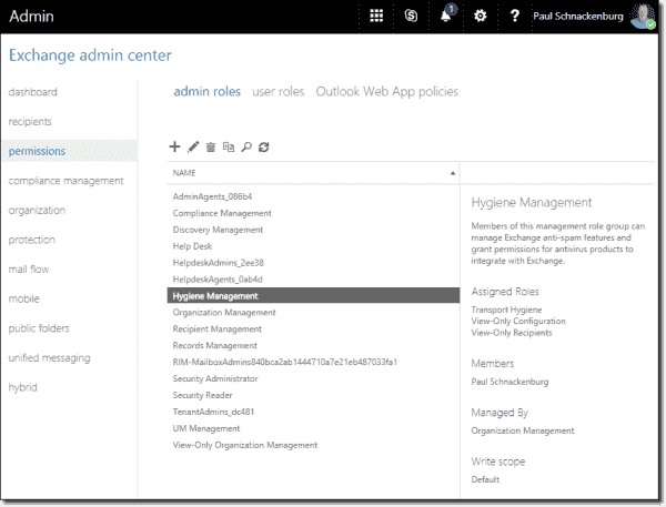 Adding a user to Hygiene Management in Exchange Online