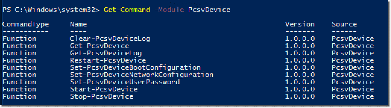 Displaying the cmdlets of the PcsvDevice module