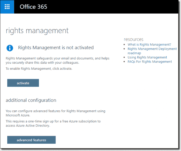 Enable Rights Management in Office 365