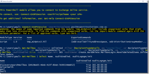 Enabling Office 365 mailbox owner auditing in PowerShell