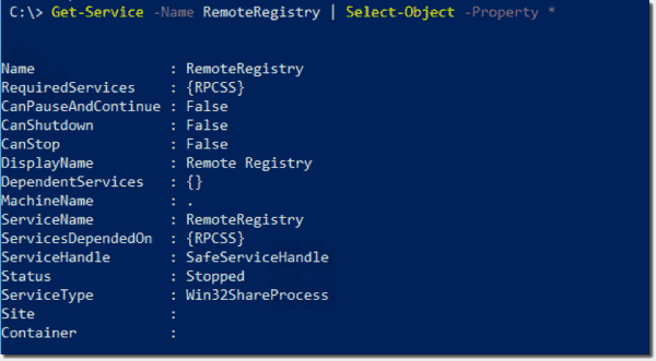 Getting the current status of the RemoteRegistry service