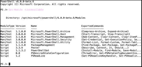Included modules of PowerShell 6 beta 6 on Ubuntu