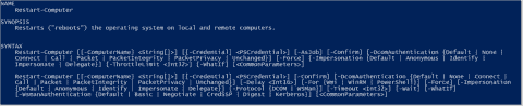 Reboot with the Restart-Computer PowerShell cmdlet