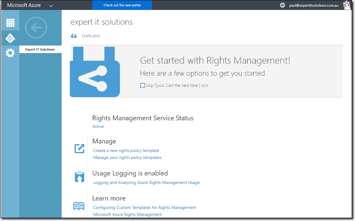 Rights Management Service settings in AAD