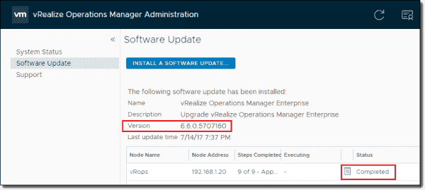 vROps 6.6 appliance software update complete