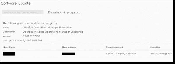 vROps 6.6 appliance software update finalizing installation tasks
