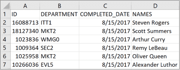 CSV example of expected output